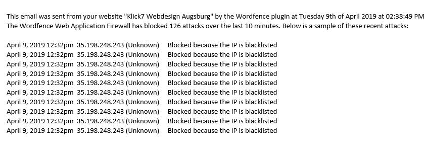 Sicherheit Wordpress Webseite Augsburg Angriff auf Firewall