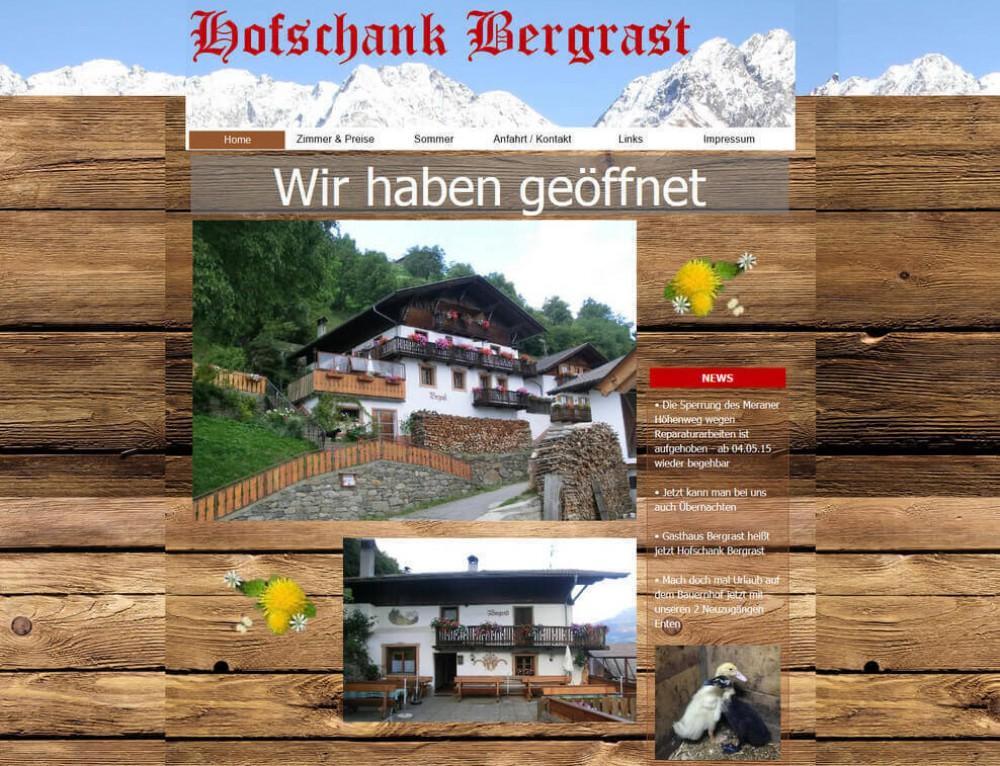 Internetauftritt für Gasthaus Pension Bergrast in Südtirol