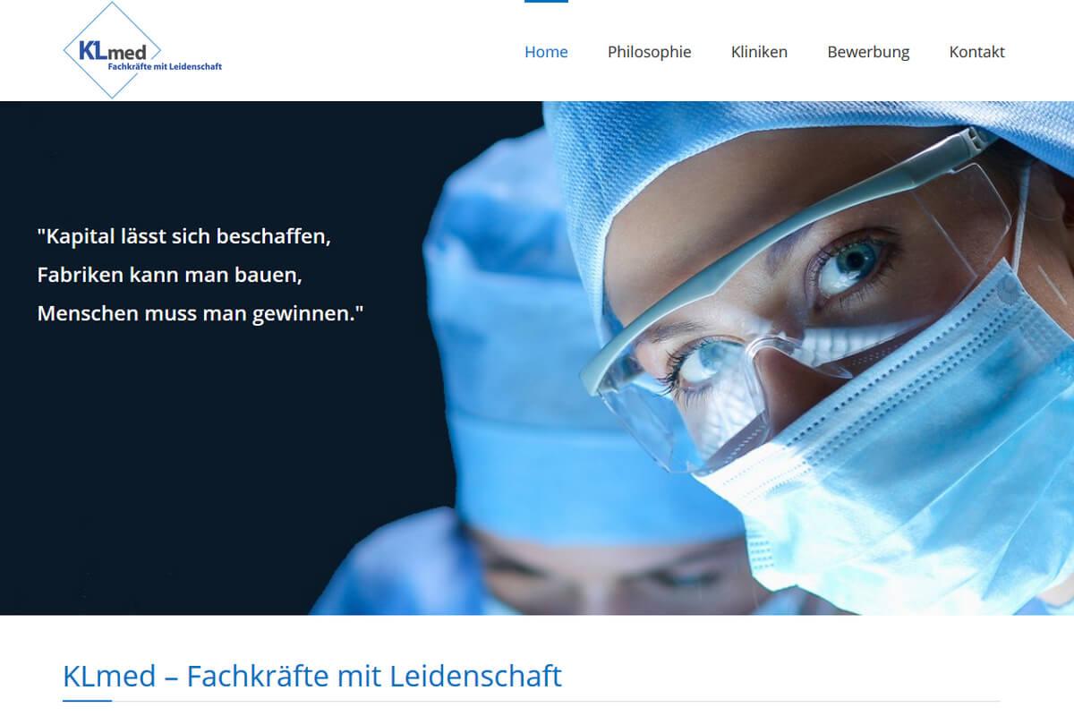 Klmed München Webseite für Personaldienstleistungen