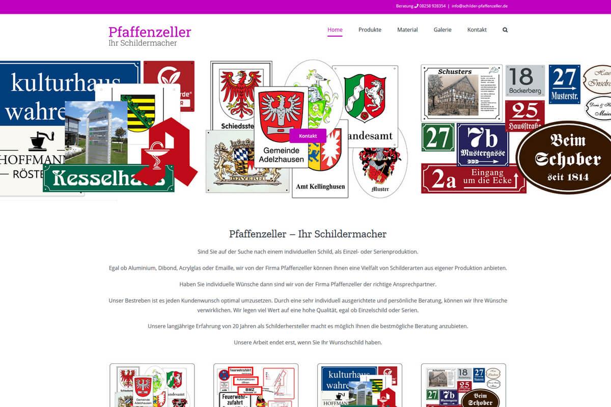 Wordpress Webseite Augsburg für Schilderhersteller
