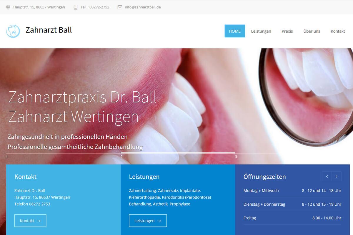 Webseite für Zahnarzt Zahnarztpraxis